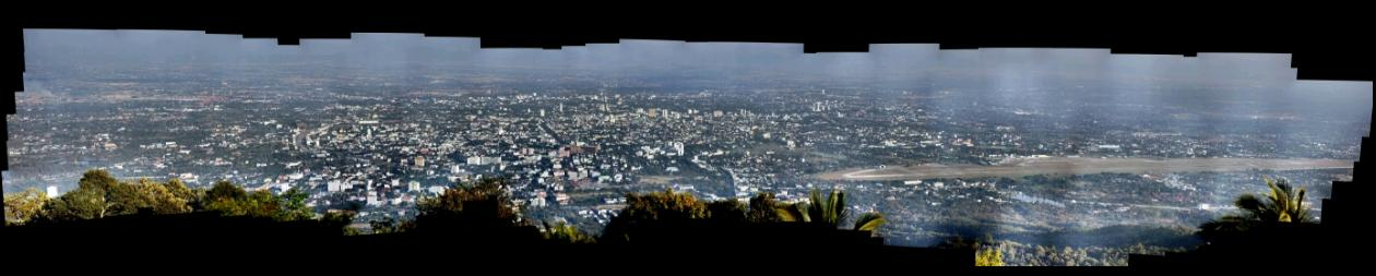 HD View Panorama of Chiang Mai from Doi Suthep Temple January 2009